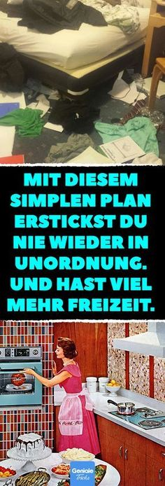 Mit diesem simplen Plan erstickst du nie wieder in Unordnung. Und hast viel mehr… With this simple plan, you will never strangle again. And have much more free time. With this simple trick, you'll get rid of the mess in your apartment. The Plan, How To Plan, House Cleaning Tips, Cleaning Hacks, Best Ikea, Budget Planer, Flylady, Making Life Easier, Detox Plan