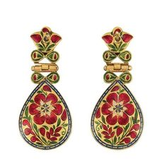 Indian gold, Jaipur enamel, foiled-back emerald and diamond earrings