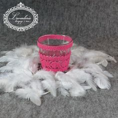 Lavenderia - decoupage i inne: Świecznik w różowej koronce