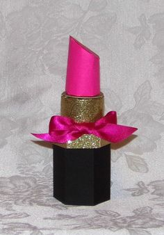 Hot Pink and Gold Lipstick Gift Box Favor Box Original Design - so cute!  Made large enough - would be cute as a gift box for the teen on your list!  Lid could be just below the bow - lift off to reveal the gift of makeup items inside!  Want to make one!