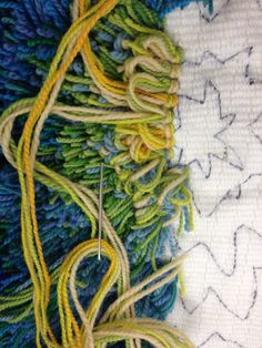 Fireflower In Blues Greens Progress This Rya Design Was Drawn On The Backing