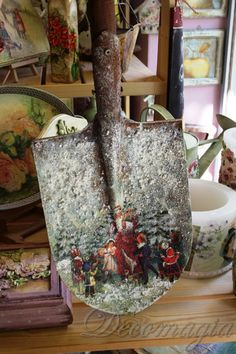 A shovel turned into work of art with decoupage