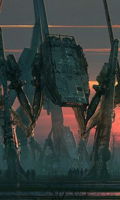 Imperial Spiders AT-ATs - Star Wars fan art by Raphael Lacoste Aliens, Star Wars Concept Art, Star Wars Fan Art, Art Cyberpunk, Guerra Anime, Arte Peculiar, Sci Fi Environment, Sci Fi Horror, Futuristic Art