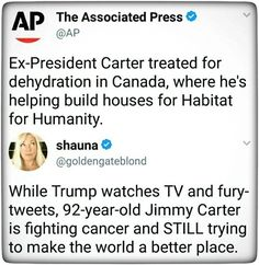 As a kid the general opinion of President Carter was that he was kind of a joke. How horrible that I ever believed that.