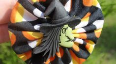 Witch face and shoe on candy corn yo yo ornaments for by SursyShop, $8.00