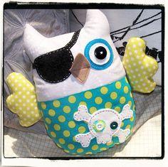 PIRATE OWL - Whimsical - Teal, Lime, Grey. $35.00, via Etsy.