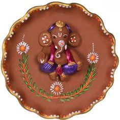 ExclusiveLane Terracotta Handpainted Ganesha Plate Wall Decor
