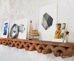 Pay tribute to the craftsmanship of reclaimed architectural trim by transforming a remnant into a display ledge.