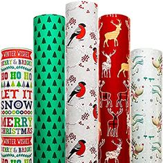 Amazon.com: Christmas Wrapping Paper 5 Roll 30 Inch X 10 Feet Per Roll Design for Xmas Holiday Hanukkah Red Blue Green White Deer Santa Snowmen Snowflakes Snow Tree Merry: Everything Else Creative Gift Wrapping, Creative Gifts, Cool Gifts, Pink Christmas Wrapping Paper, Gift Wrapping Paper, Hallmark Christmas, Christmas Car, Christmas Ideas, Red Blue Green