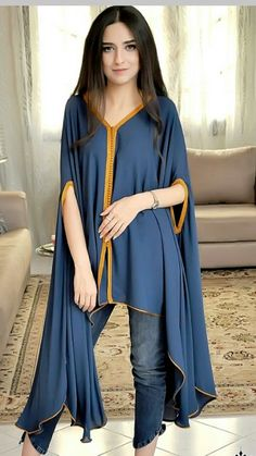 Une nouvelle collection de caftan (With images) Pakistani Fashion Party Wear, Pakistani Dresses Casual, Indian Fashion Dresses, Pakistani Dress Design, Indian Designer Outfits, Girls Fashion Clothes, Muslim Fashion, Fashion Outfits, Latest Pakistani Fashion