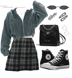 Discover outfit ideas for everyday made with the shoplook outfit maker. How to wear ideas for Sterling Silver Half Moon and Small Silver Hoop Earrings Swaggy Outfits, Edgy Outfits, Teen Fashion Outfits, Retro Outfits, Cute Casual Outfits, Girl Outfits, Polyvore Outfits Casual, Cute Grunge Outfits, Polyvore Fashion