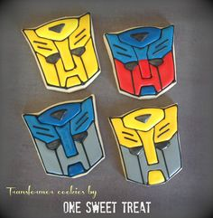 Transformer and/or Autobots sugar cookies. Transformers Cupcakes, Transformers Birthday Parties, Birthday Cookies, Cupcake Cookies, Sugar Cookies, Birthday Treats, Transformer Party, Leo Birthday, 4th Birthday Parties