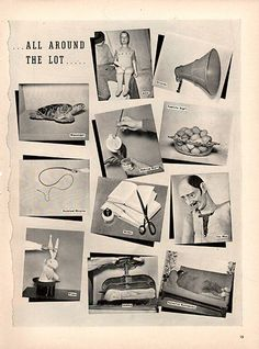 1940 All Around The Lot Original Movie Lot Print AdLarge Single Ad - Between 10 x 13 to 11 x 14 inches, suitable for framing. Original Movie, Print Ads, Vintage Advertisements, Vintage Prints, Wall Art, The Originals, Retro, Antiques, Movies