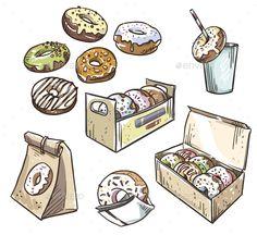 Buy Selection of Donuts Takeaway Packaging by kamenuka on GraphicRiver. selection of donuts. Donut Drawing, Drawing Bag, Coffee Drawing, Food Drawing, Takeaway Packaging, Food Packaging Design, Donuts, Food Doodles, Food Sketch