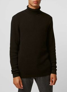 Black Waffle Roll Neck Sweater