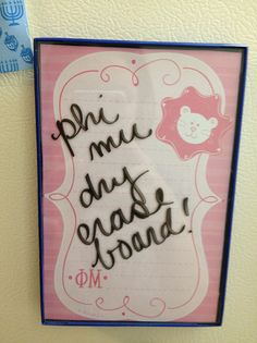 Phi Mu stationary in a picture frame, then attach some magnets- great big/little gift or for bid day bags? --Could totally make a Sigma one!