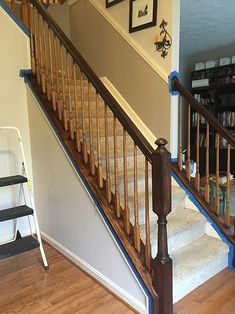 Timeless and Treasured - My Three Girls: DIY - How To Stain and Paint Oak Stair Banisters Narrow Staircase, Oak Stairs, House Stairs, Staircase Design, Stair Banister, Banisters, Banister Ideas, Railings, Banister Remodel