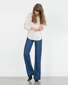 ZARA - WOMAN - EMBROIDERED SLEEVE SHIRT - size S, maybe M - £30