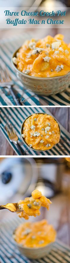 Three Cheese Crock Pot Buffalo Mac n Cheese - Krafted Koch - A quick and easy mac n cheese recipe for your Crock Pot with bold buffalo flavor!