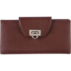 Pre-owned Salvatore Ferragamo Pebbled Leather Omega Wallet ($225) ❤ liked on Polyvore featuring bags, wallets, brown, salvatore ferragamo wallet, salvatore ferragamo bags, brown bag, credit card holder wallet and pebbled leather wallet