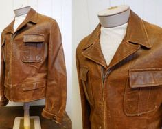 Men's Vintage 1930's-40's Glover Leather Jacket   40/42