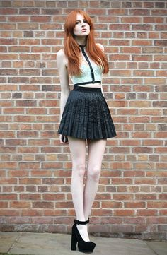 Creepy Yeha Etsy store leather harness, Olive Clothing faux leather pleated skirt, SOS mary jane heels, Topshop mint lace bralette
