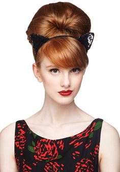Right Black Cat Ya Headband. What you give is what you get - so send happy-making vibes at tonights soiree with this adorable cat ear headband! #black #modcloth