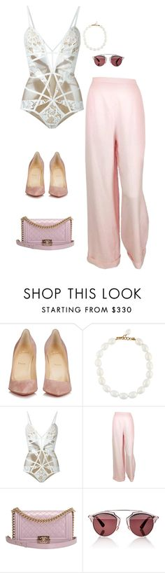 """""""Pink girl"""" by guls ❤ liked on Polyvore featuring Christian Louboutin, Chanel, For Love & Lemons and Christian Dior"""