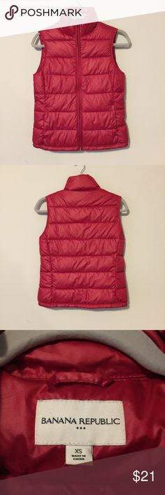 """🆕Banana Republic Puffer Vest Stylish and cozy puffer vest by Banana Republic. 2 front pockets. Great layering piece. Measurements: 17 1/2"""" armpit to armpit; 22"""" from bottom of back collar to bottom hem; 3"""" collar. NWT Banana Republic Jackets & Coats Vests"""