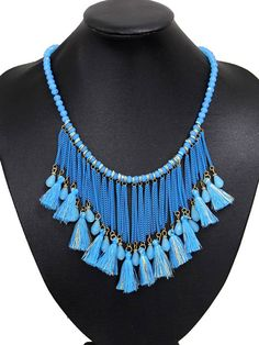 Blue Crystal Tassel Multi Layer Beaded Detail Necklace   Choies