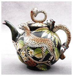 Leopard Teapot by Ardmore Ceramics - South African Design. Ceramic Teapots, Porcelain Ceramics, Ceramic Art, Fine Porcelain, Teapots Unique, Teapots And Cups, Chocolate Pots, Tea Time, Vases