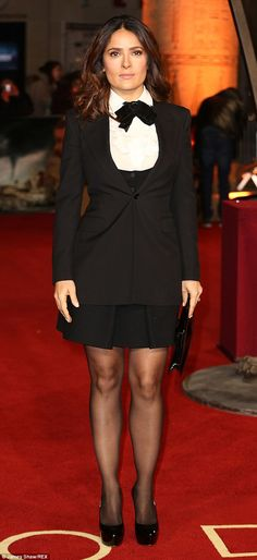A-list: Actress Salma Hayek turned up to support her friends and looked lovely in her mini...