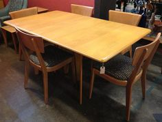 Superbe Midcentury Modern Heywood Wakefield Dining Table + 6 Chairs