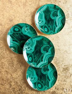 Malachite gold-trimmed porcelain dessert plates by L'Objet, $250 for a set of four #malachite #mineral #homedecor