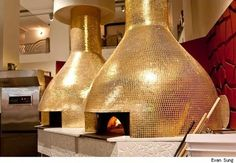 Jess and I ate here at the bar at eataly when we were too cold to go far from hotel. the pizza ovens in gold were pretty cool. the guy tossing the pizza dough was pretty awesome too! wish I had taken a pic! Pizzeria Design, Restaurant Design, Wood Oven, Wood Fired Oven, Lofts, Commercial Kitchen Design, Wood Pizza, Oven Design, Four A Pizza