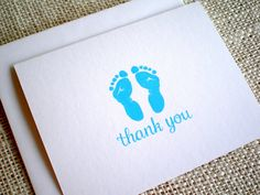 Items similar to Baby Boy Thank You Cards - Set of 10 Baby Boy Blue Footprints Thank You Notes for Baby Shower or New Baby - Light Blue or Navy Blue on Etsy Baby Thank You Cards, Thank You Notes, 10 Envelope, Happy Design, Baby Footprints, Baby Hands, New Baby Gifts, Envelopes, Hand Drawn