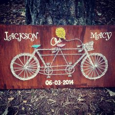 String art bicycle built for two - customizable wood stain, string color and stamping!