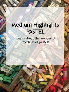 Medium Highlights - PASTEL   Ahhh... pastel...thick, little sticks of powdery pigment that come in a huge array of scrumptious colors! Some people love them (me) and some people... pastel, dry pastel, hard pastel, soft pastel, oil pastel, oil bar