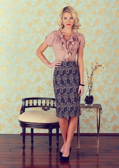 Modest Pencil Skirt in Grey and Rose Floral Print