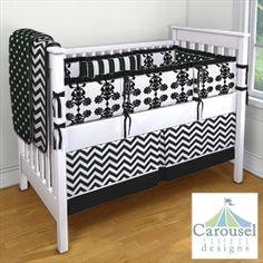 My Carousel Designs Custom Baby Bedding... Black and White Multi-print for a girl's nursey. #carouseldesigns #nursery