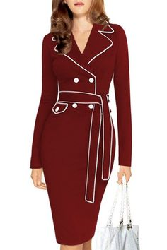 Stylish Lapel Long Sleeve Color Block Belted Dress For Women