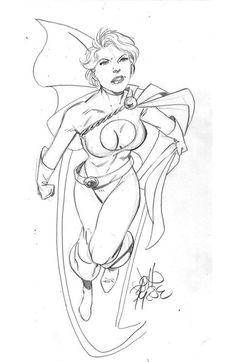 Power Girl sketch by John Byrne. 2006.