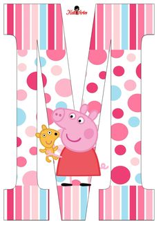Peppa Pig Alphabet. Alfabeto de Peppa Pig con Perrito. Pig Crafts, Baby Crafts, Pig Birthday, 4th Birthday Parties, Peppa Big, Cumple Peppa Pig, Peppa Pig Family, Pig Party, Alphabet