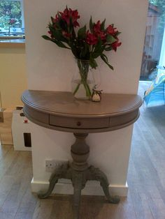 Table painted in Annie Sloan French Linen, details in dark wax.