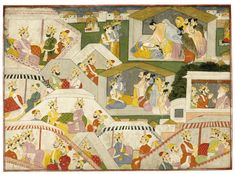 An episode from the Mahabharata, attributed to family workshop of Purkhu, India, Kangra, circa 1820