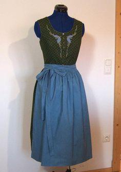 Vintage Trachtenmode - Dirndl mit Schürze, grün blau, Gr.40/M - ein Einzelstück von vampertinger bei DaWanda