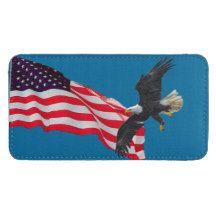 Flying Bald Eagle & U.S. Flag Patriotic Design Galaxy S4 Pouch