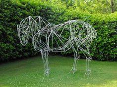 #Steel #sculpture by #sculptor Emma Walker titled: 'Suffolk Punch (Metal Frame Standing Heavy Horse life size statues)'. #EmmaWalker