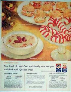 Holiday Fun Foods from Quaker Oats, including Candy Cane Oatmeal Cookies – 3 Recipes Retro Recipes, Old Recipes, Vintage Recipes, Cookbook Recipes, Christmas Drinks, Christmas Treats, Christmas Stuff, B Recipe, Candy Cane Cookies