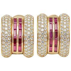 Code: Brand: Chopard Description: Yellow Gold Ruby & Diamond La Strada Earrings Accompanied With: Presentation Box Gender: Ladies Earring Length: Earring Width: Earring Back: Clip-on Condition: 9 Material: Yellow Gold Total Weight: Clip On Earrings, Women's Earrings, Chopard Earrings, Vintage Yellow, Earring Backs, Designer Earrings, Diamond Cuts, 18k Gold, Women Jewelry